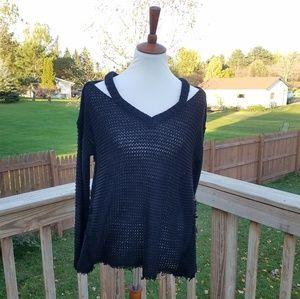Quinn Black Raw Cut Out Sweater